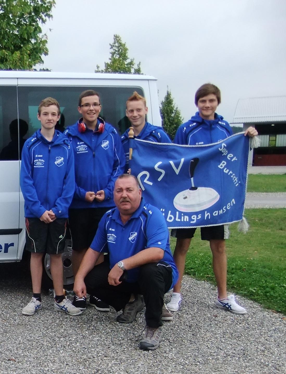 Die U16 mit den Spielern (v. L. n. R.) Janis Brück, Jonas Keil, Gabriel Mattes und Marcel Porst