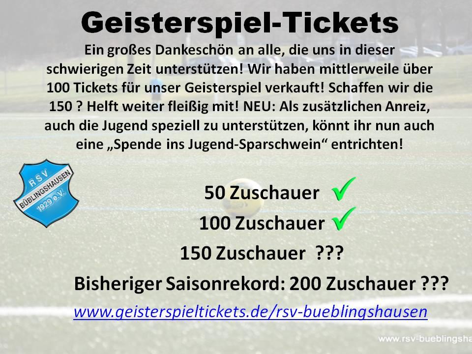 Update Geisterspiel-Tickets: Die 100 sind geknackt!