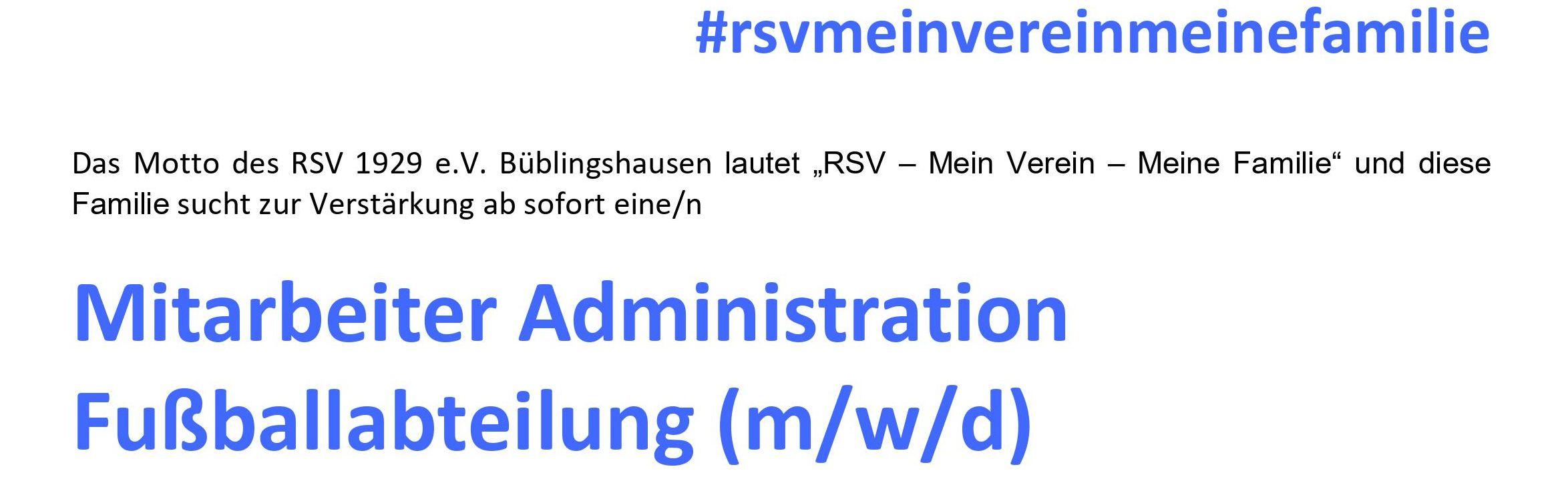 """Gesucht: Vereinsmitarbeiter im Bereich """"Administration"""""""