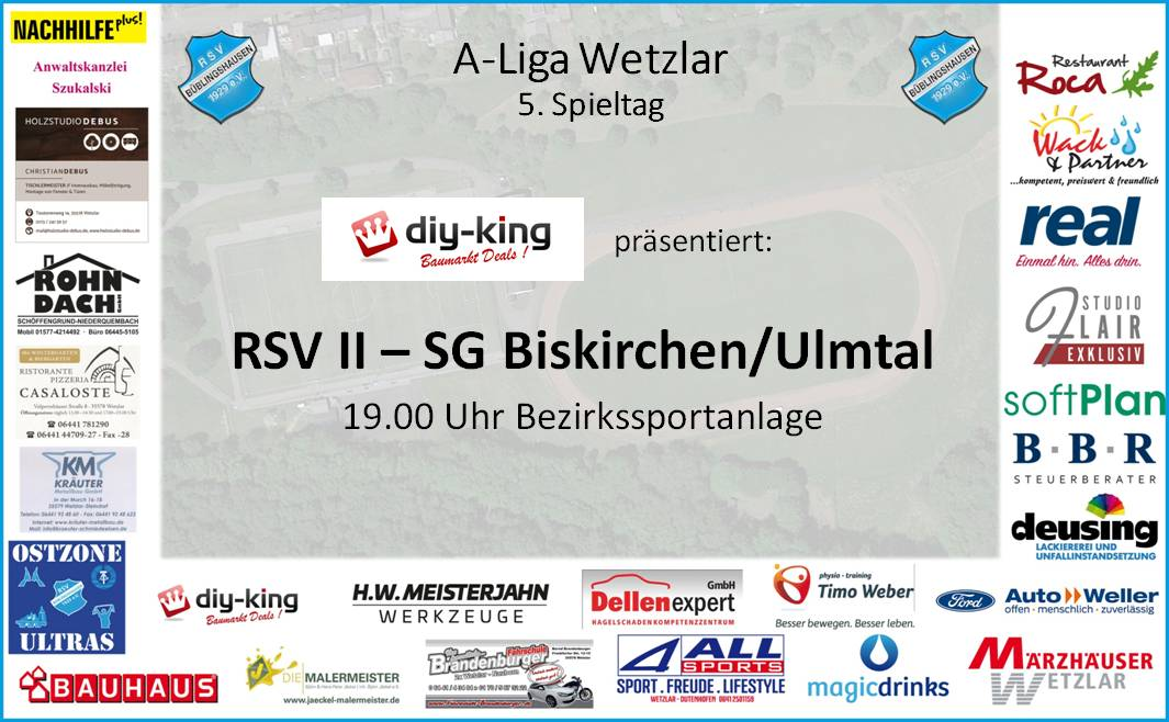 Nächste Englische Woche: RSV II empfängt heute Abend Biskirchen/Ulmtal