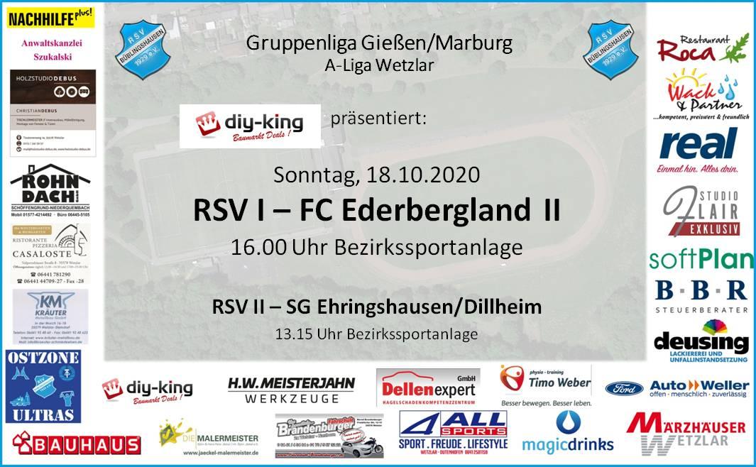 """Heimspiel-Doppelpack am Sonntag: RSV I empfängt Ederbergland II, """"Zweite"""" trifft auf Reserve aus Ehringshausen"""