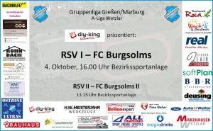 Sonntag ist Heimspieltag! RSV mit beiden Teams gegen Burgsolms