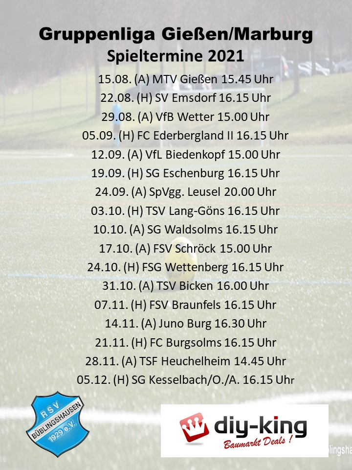 You are currently viewing Gruppenliga: Spielplan steht – RSV eröffnet wieder beim MTV Gießen