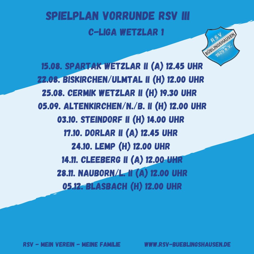 You are currently viewing Spielplan C-Liga: RSV III eröffnet Runde ebenfalls bei Spartak